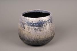 A299HX Cache-pot céramique argent H12cm