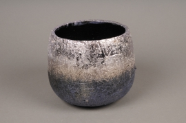 A300HX Cache-pot céramique argent H14cm