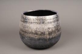 A302HX Cache-pot céramique argent H22cm