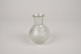 A308I0 Green glass bottle vase D4.5cm H11.5cm