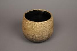 A313HX Cache-pot en céramique or D17cm H14cm