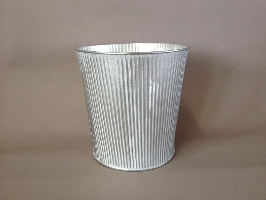 A313KM Cache-pot en zinc blanchi D21cm H20cm