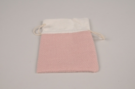 A321UN Paquet de 10 sacs en lin rose 15x10cm