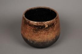 A322HX Cache-pot en céramique cuivre D28cm H22cm
