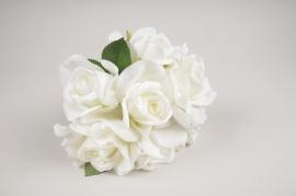 a330nn Bouquet de 6 roses artificielles blanches H20cm
