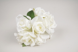 a330nn Bunch of 6 white artificial roses H20cm