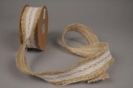 A333UN Natural burlap ribbon with lacework 5cm x 9cm
