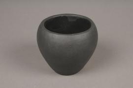A337HX Black ceramic planter H10cm