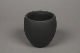 A348HX Black ceramic planter D8.5cm H10cm