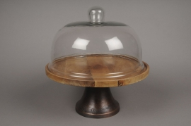 A349DQ Glass bell with wooden plater D33cm H34cm