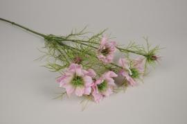 a349nn Nigelle artificielle rose H64cm
