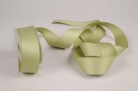 A358UN Green satin ribbon 40mm x 15m