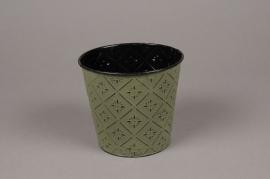 A359KM Cache-pot en zinc vert D13.5cm H12cm