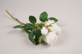 a374nn Artificial white branch rose H37cm