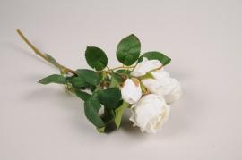 a374nn Branche de roses spray artificielle blanc H37cm