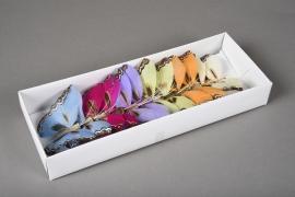 A375E9 Boîte de 12 pics papillons en plume D9cm