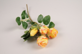 a375nn Artificial yellow branch rose H37cm