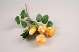 a375nn Branche de roses spray artificielle jaune H37cm