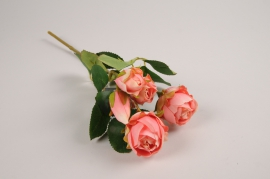 a376nn Branche de roses spray artificielle rose H37cm