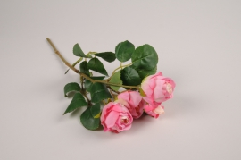a377nn Artificial fuchsia branch rose H37cm