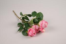 a377nn Branche de roses sprayartificielle fuchsia H37cm