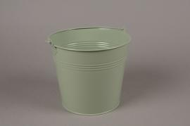A381KM Cache-pot en zinc vert olive D20cm H20cm