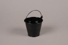 A382KM Cache-pot en zinc noir D9cm H8cm