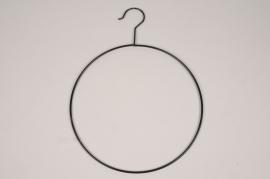 A385U7 Cercle métal noir avec crochet D28cm