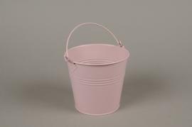 A386KM Cache-pot en zinc rose D13cm H12cm