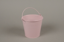 A386KM Pink zinc planter D13cm H12cm