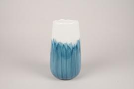 A386U7 Vase en céramique bleu D14cm H24cm
