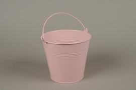 A387KM Cache-pot en zinc rose D16cm H14cm