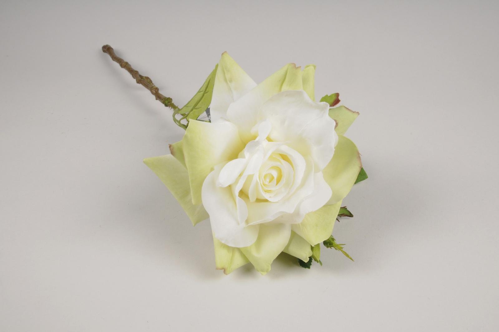 a389nn Rose artificielle blanche et verte H50cm
