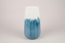 A390U7 Vase en céramique bleu D16cm H29cm