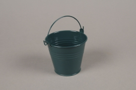 A404KM Cache-pot en zinc bleu canard D9cm H8cm
