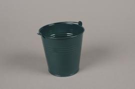 A405KM Cache-pot en zinc bleu canard D11cm H11cm