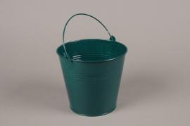 A406KM Cache-pot en zinc bleu canard D13cm H12cm