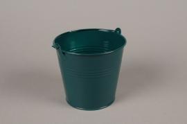 A407KM Cache-pot en zinc bleu canard D16cm H14cm