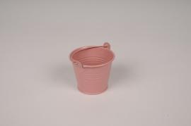 A408KM Seau en zinc rose brillant D6.5cm H5.5cm