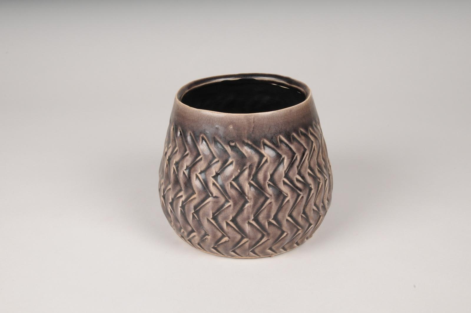 A410U7 Cache-pot en céramique violet D16cm H12.5cm