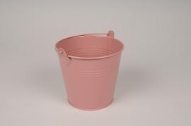 A411KM Seau en zinc rose brillant D13.5cm H12cm