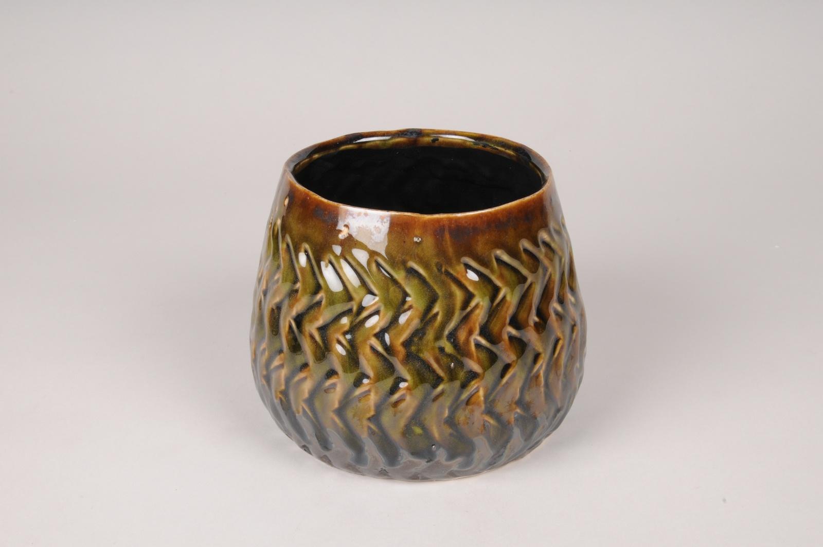 A411U7 Cache-pot en céramique vert et marron D16cm H12.5cm