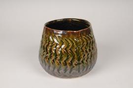 A412U7 Cache-pot en céramique vert et marron D18cm H14.5cm