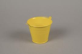 A414KM Cache-pot en zinc jaune D9cm H8cm