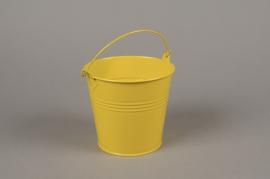 A416KM Cache-pot en zinc jaune D13cm H12cm