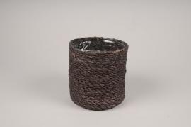 A417DQ Brown weaved planter pot D13cm H12cm