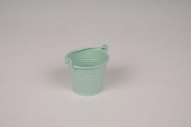A418KM Bucket zinc green mint D6.5cm H5.5cm