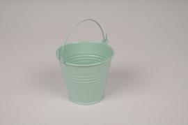 A419KM Bucket zinc green mint D9cm H8cm