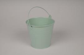 A421KM Bucket zinc green mint D13.5cm H12cm
