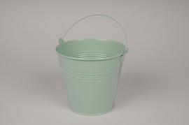 A422KM Seau en zinc vert menthe D16cm H14.5cm